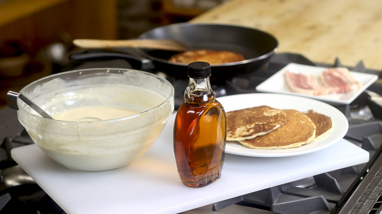 Making Pancakes With Crispy Bacon