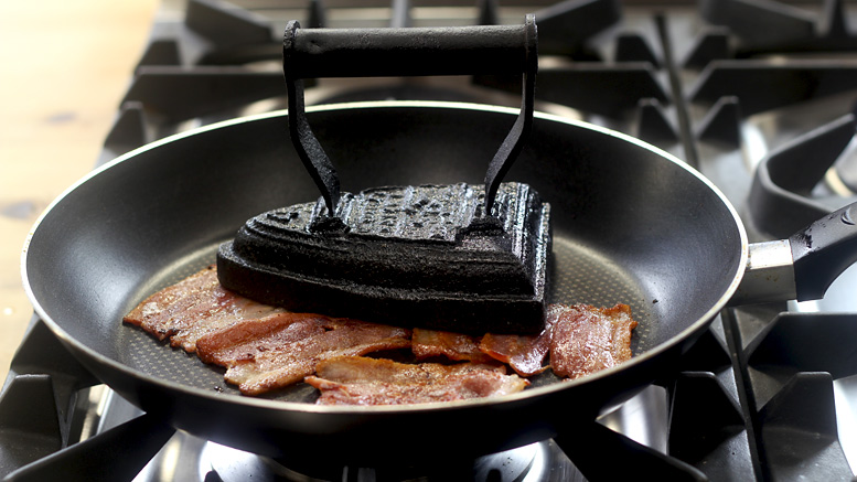 Frying The Bacon For The Pancakes